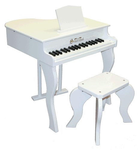 white grand piano for kids